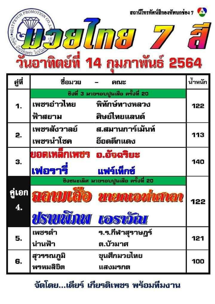 โปรแกรมมวย ศึกมวยไทย 7 สี วันอาทิตย์ที่ 14