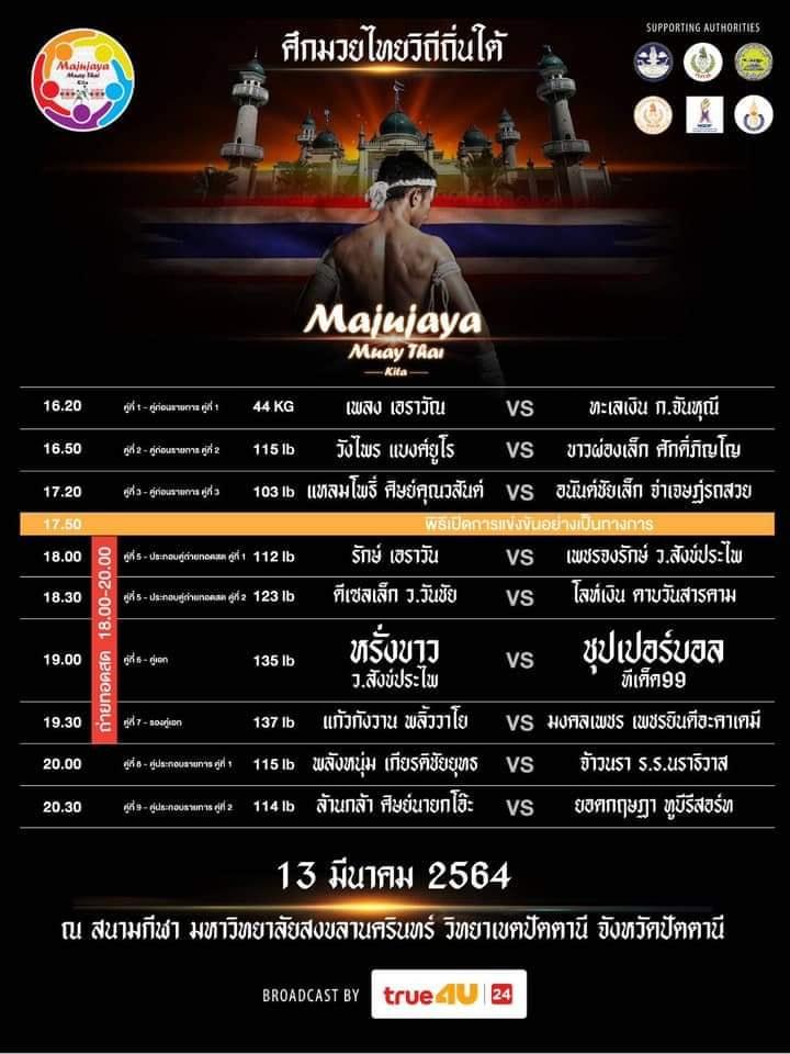 ศึกมวยไทยวิถีถิ่นใต้ เตรียมระเบิดศึก 13 มีนาคม 2564 ที่จังหวัดปัตตานี